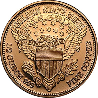 1/2 oz .999 Pure Copper Round/Challenge Coin (Bald Eagle): Arts, Crafts & Sewing