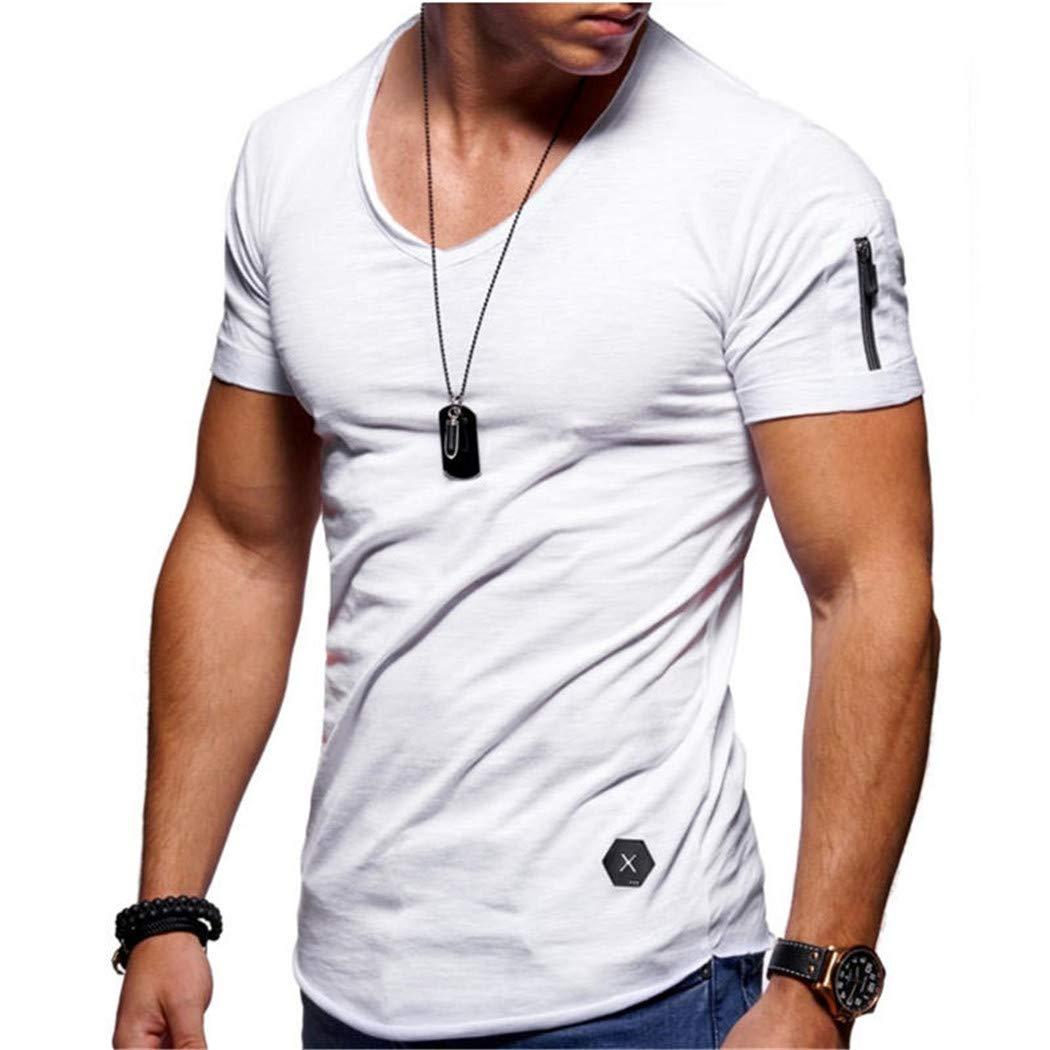 Guige Men Casual Short Sleeve V-Neck Cotton Tshirts Tops Tees Plus Size