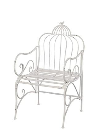 Melrose Detailed Outdoor White Bird Cage Backing Garden Park Chair With  Elegant Swirls 38u201d