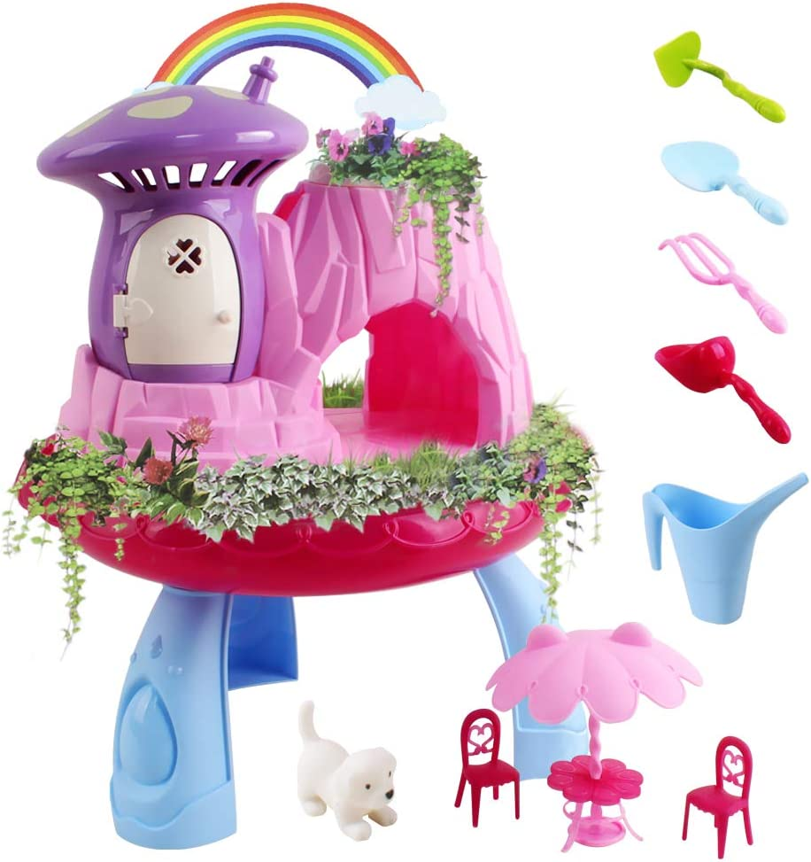 Mochoog Fairy Garden Kit for Kids, Girls Planting & Plant Growing Arts and Crafts Activity Playset, Educational Toy Gifts for Girls Age 3 4 5 6 and Up Year Old