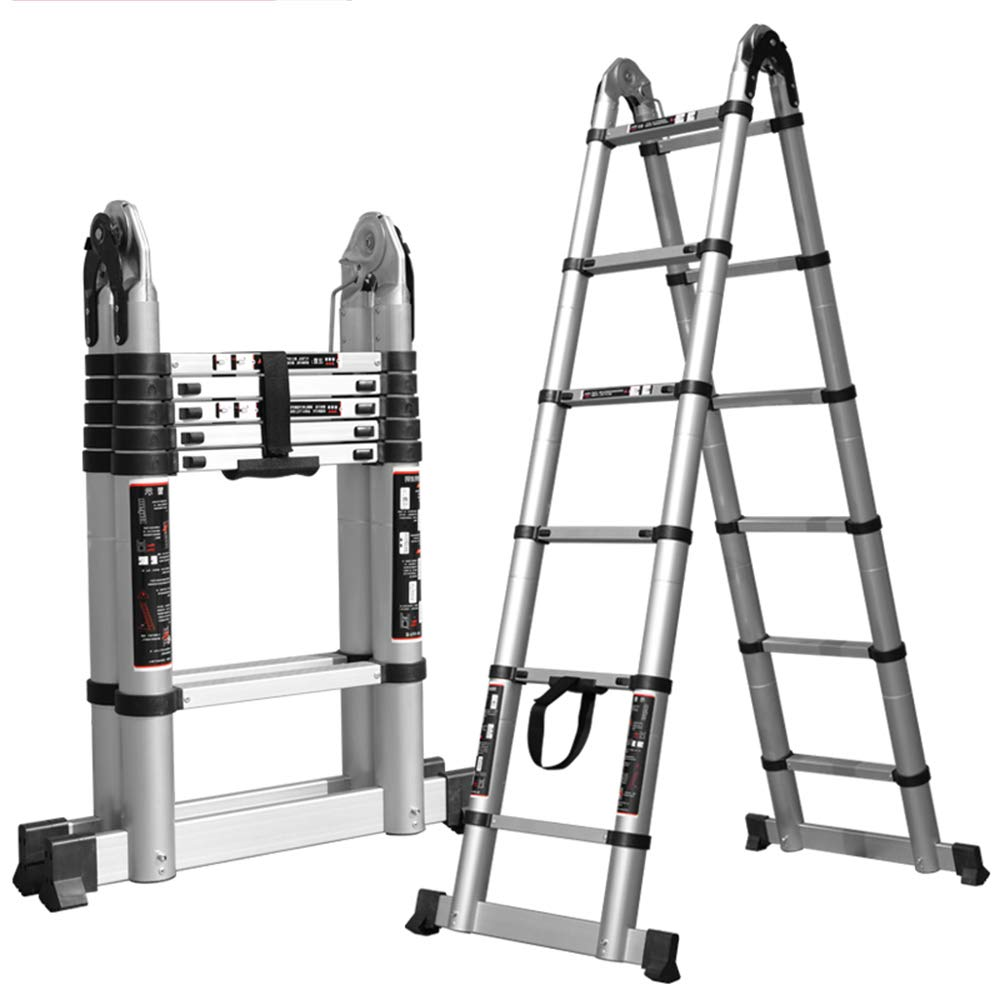 1.6+1.6 (straight ladder 3.2m) GY Step stoolExtension ladder multifunction aluminum telescopic ladder extension extension portable trapezoidal folding ladder, multifunctional decoration, commercial folding ladder (6 sizes can