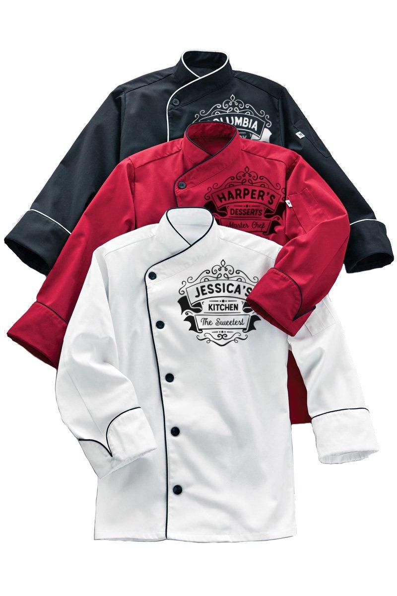 KAMAL OHAVA Custom Angled Collar Chef Coat With Logo, Black/White, 6XL Big