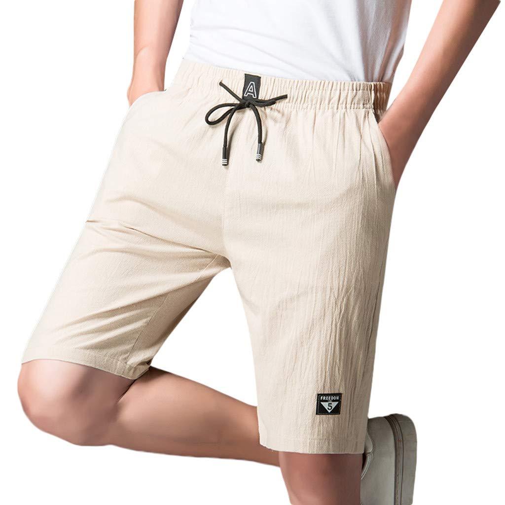 2c0540039a Boxer Briefs Clothing Mens Cotton Linen Soft Daily Shorts,Suma-ma Male  Solid Breathable Casual Beach Pants Elastic Waist Pockets Shorts