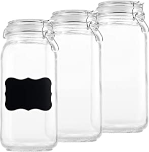 DilaBee Glass Storage Jars - Clear Glass Jars with Airtight Lids - Square Glass Jars for Food Storage with Lids and Chalk Labels- airtight glass Kitchen Jars for Canning, Fermenting, (3 Pack 64 Oz)