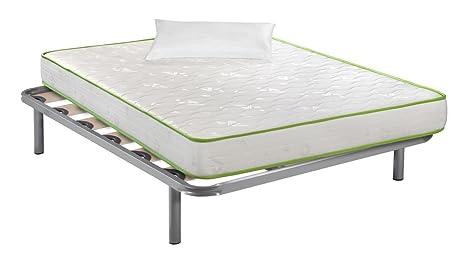 Santino Pack descanso: Somier Multilaminar + Colchón Narturfresh + Almohada fibras Hotel 105x190 cm