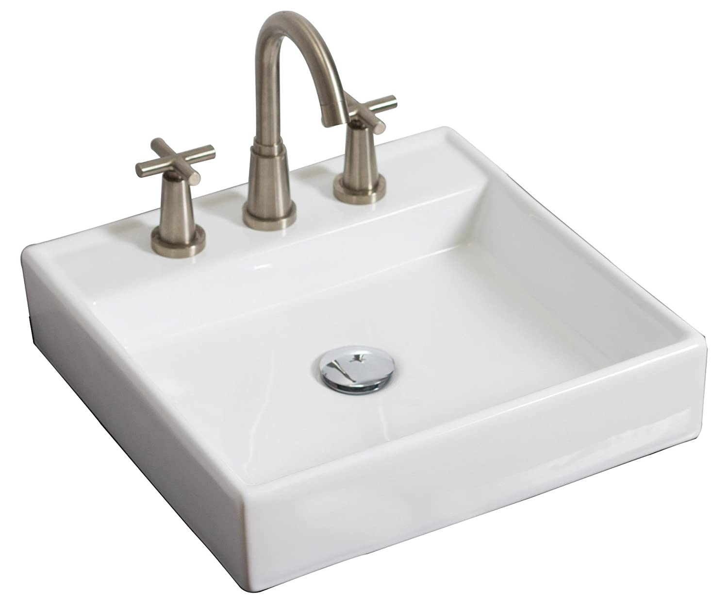 American Imaginations AI-4-1121 Wall Mount Square Vessel for 8-Inch OC Faucet, 17.5-Inch x 17.5-Inch, White