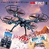 X5SW-1 RC Quadcopter Built-In HD Camera Drone Wifi FPV RTF 2.4G 4CH Helicopter with 6-Axis Gyro,Phone Control &Headless Mode (Black)