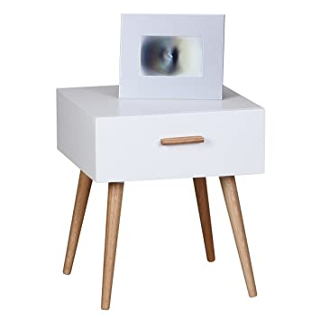 FineBuy Design Retro Nachttisch SKANDI 40 x 46 x 42 cm weiß matt mit ...