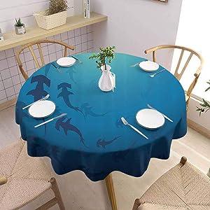 Sea Animals Decor Food Round Tablecloth Hammerhead Shark School Scan Ocean Dangerous Predator Wild Nature Illustration Soft and Smooth Surface Diameter 62 inch Navy Blue