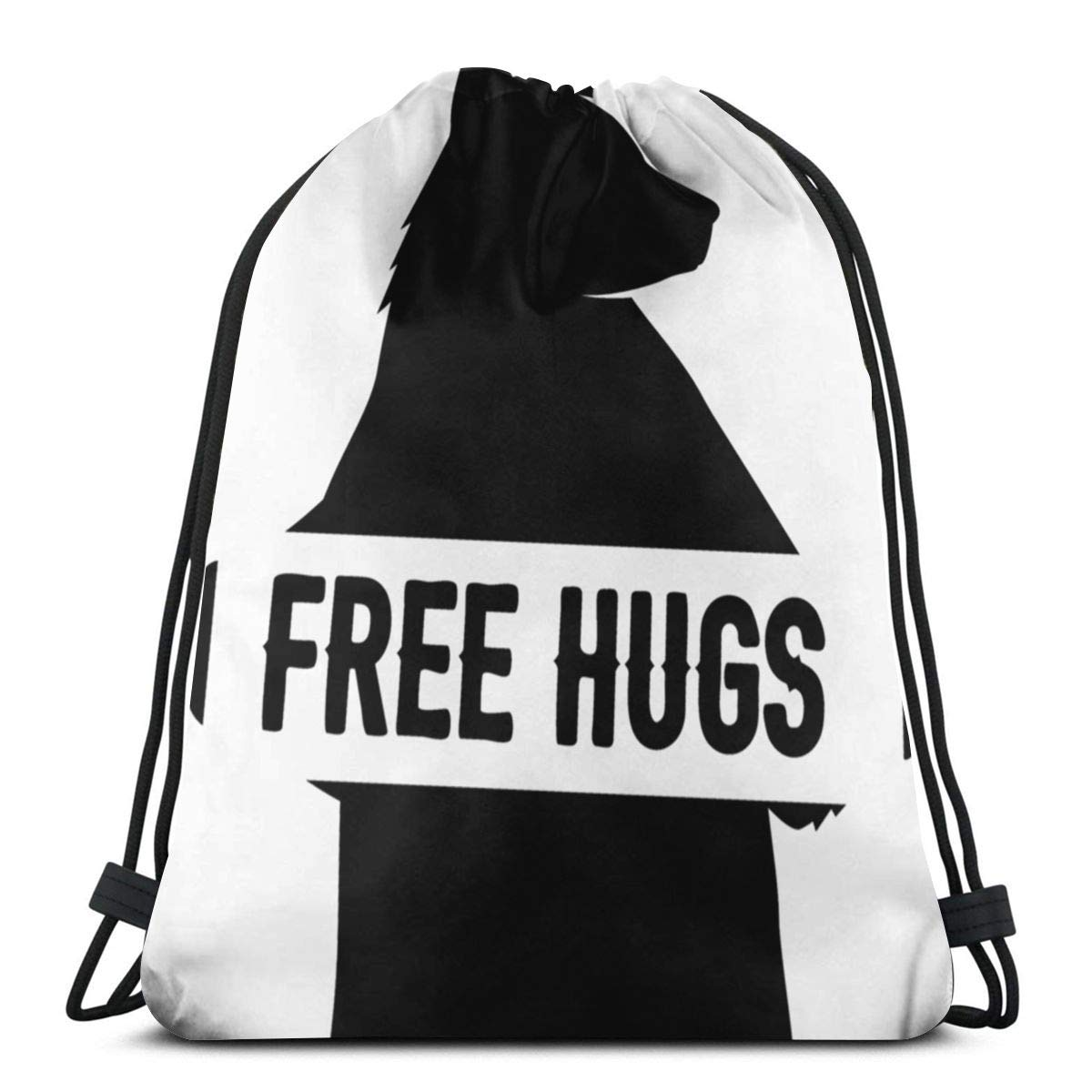 Wangchangjin Drawstring Bags Free Hugs Sport Gym Tennis Casual Daypack Backpacks Swimming Hiking Yoga Portable Travel for Women and Men