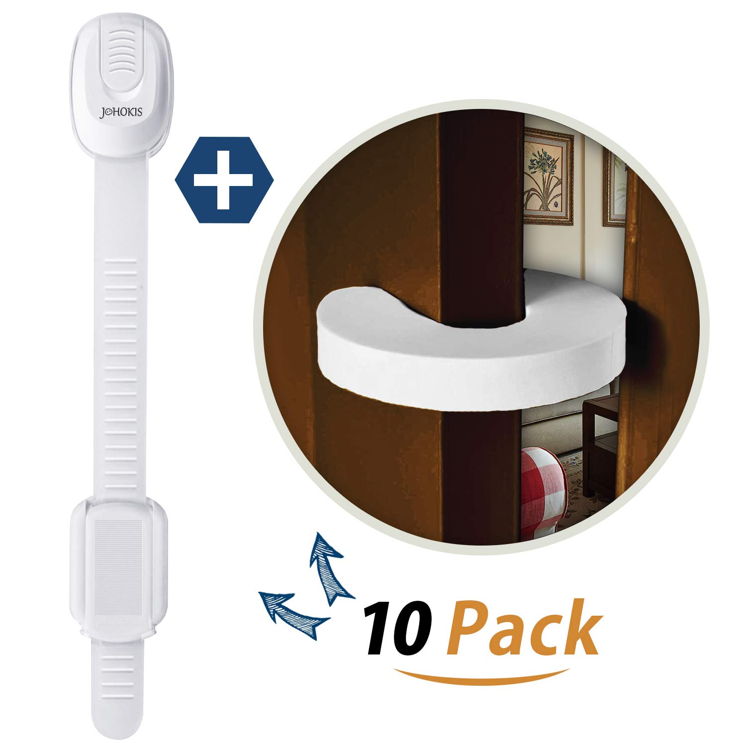 Johokis Child Safety Cabinet Locks | (8-Pack) 2 Free Extra Door Stopper |Baby & Kid Proof Drawers, Cabinets, Oven, Toilet Seat,Fridge,Closet|Adhesive Safety Latches |