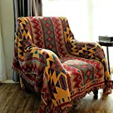 MeMoreCool Latest Beautiful Geometry Knitting 100% Cotton Blanket Sofa Cover,Thicken Bohemian Style Bedding Blanket,Piano Cover,91''98''