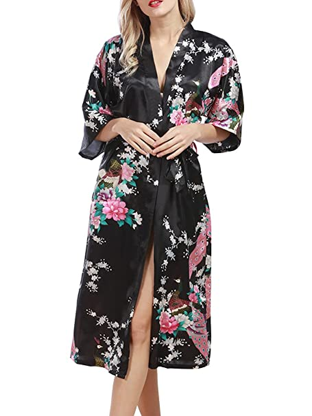 SanJL Womens Satin Kimono Robes Peacock Blossoms Long Bathrobe S Black 44ce1df78