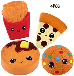 Anboor Squishies Pizza,Cookies,Chocolate Cake and French Fries Kawaii Scented Soft Slow Rising Simulation Simulation Food Squishies Stress Relief Kids Toy Gift Collection Decorative Props,4 Pcs
