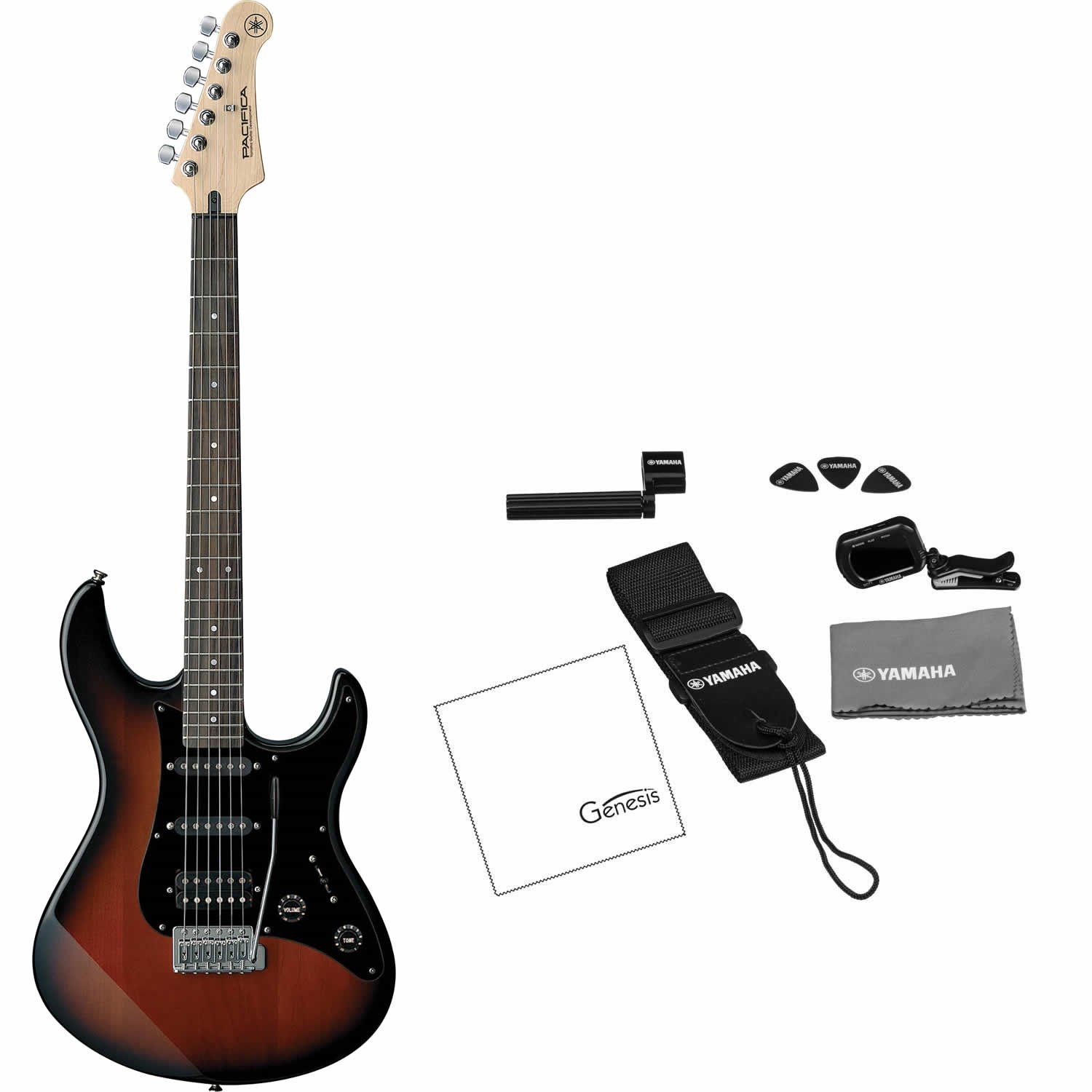 Yamaha PAC012DLX OVS Pacifica Double-Cutaway Electric Guitar (Old Violin Sunburst) (FREE Tuner, Strap, Guitar Picks, String Winder, and Polishing Cloth)