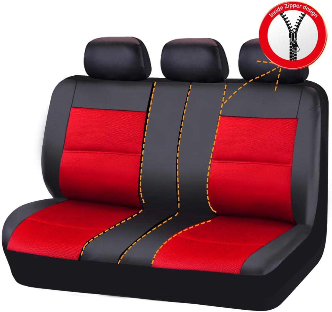 paquete universal para veh/ículos con esponja interior CAR PASS Juego de fundas de asiento automotriz de piel sint/ética de 11 piezas compuesto de 5 mm compatible con airbag