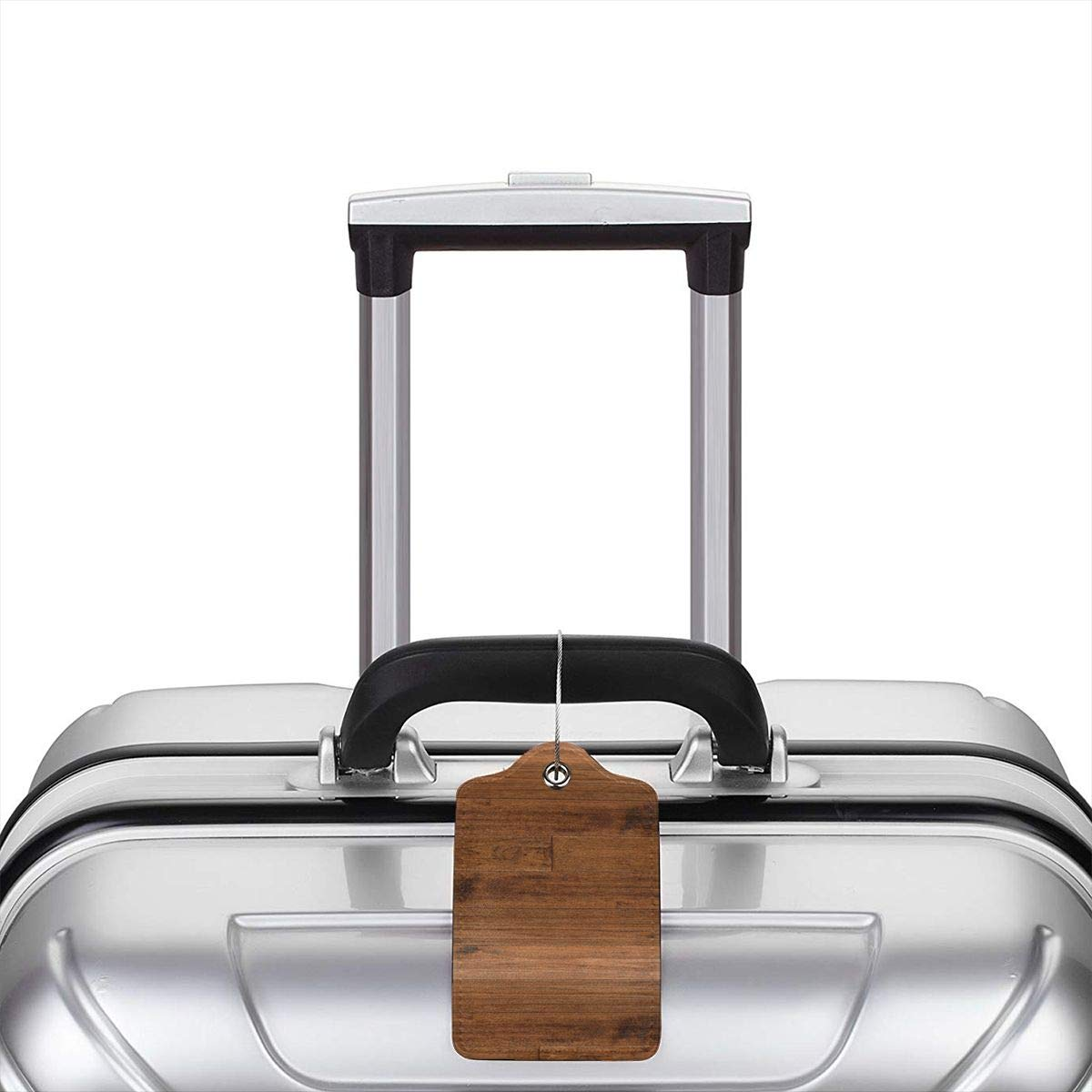 Wood Texture Travel Luggage Tags With Full Privacy Cover Leather Case And Stainless Steel Loop
