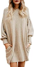 haoricu Women Sweater, Clearance Winter Fall Women O-Neck Casual Loose Long Pullover Sweater Long Sleeve Blouse with Pocket