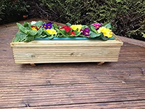 De madera Garden macetero/maceta/caja de ventana con separado extraíble)