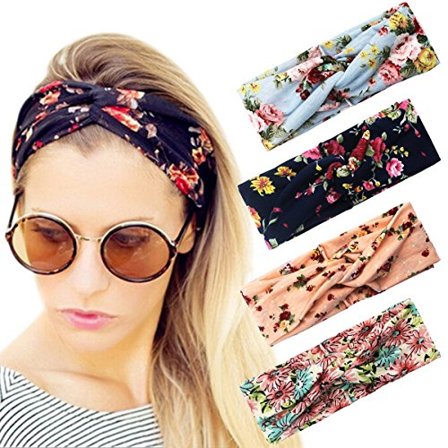 HIPPIH Women's Headbands Elastic Turban Head Wrap Stretchy Floral Style Hair Band 4 Pack - Headband Stretchy Headband