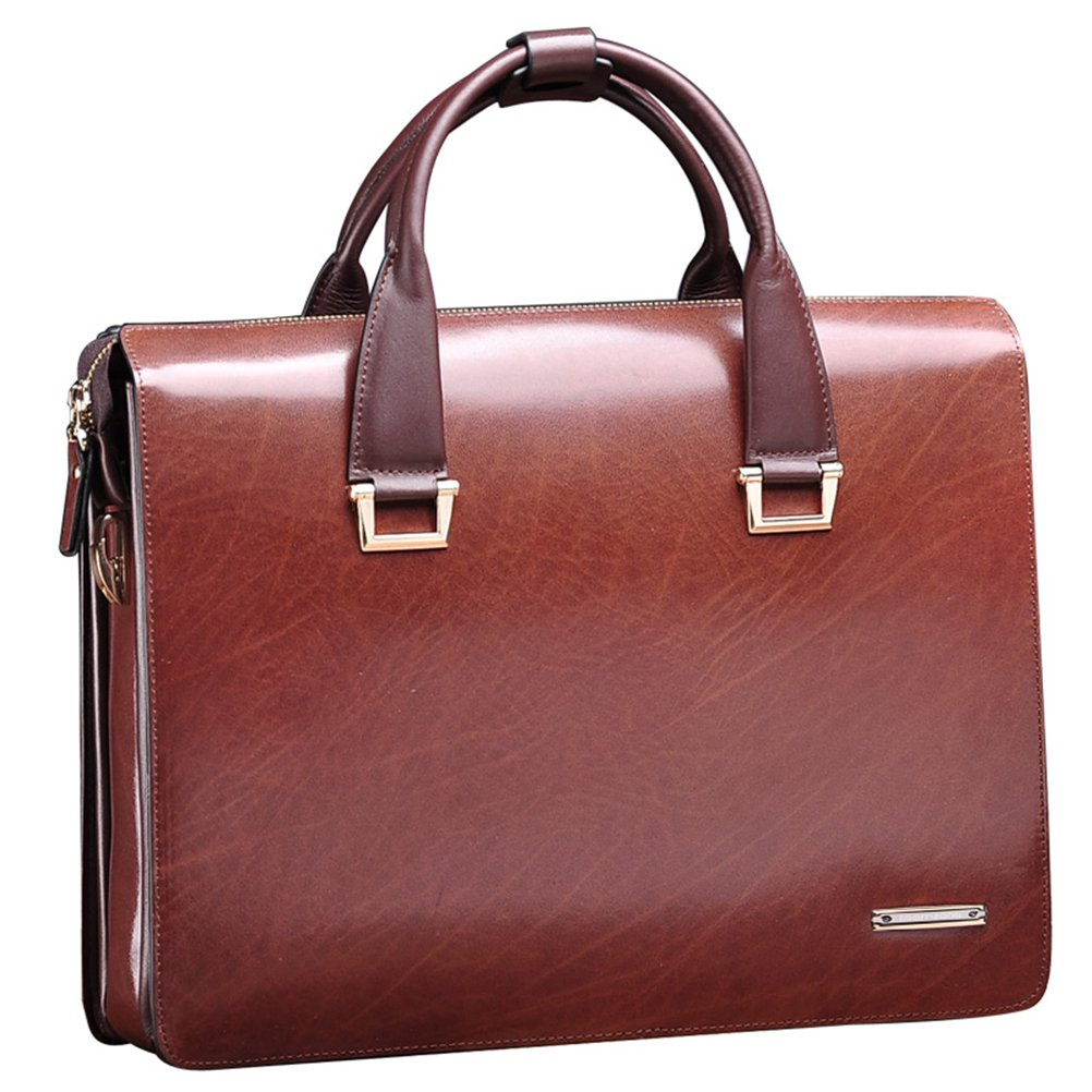 Teemzone Men Genuine Leather Business Laptop Case Briefcase Attache Bag (Smaller size)