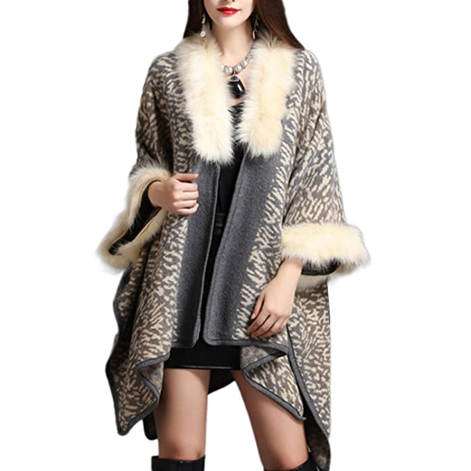 Amazon.com: Ladies Leopard chal manto Wraps Coat sintética ...