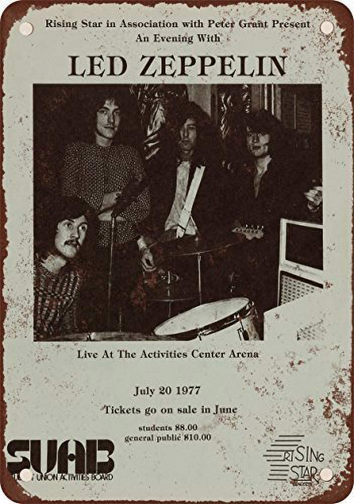 Led Zeppelin at Arizona State University Cartel de chapa Cartel de Arte Pintado de Metal Retro Decoraci/ón Placa de Advertencia Bar Cafeter/ía garaje Fiesta de juegos