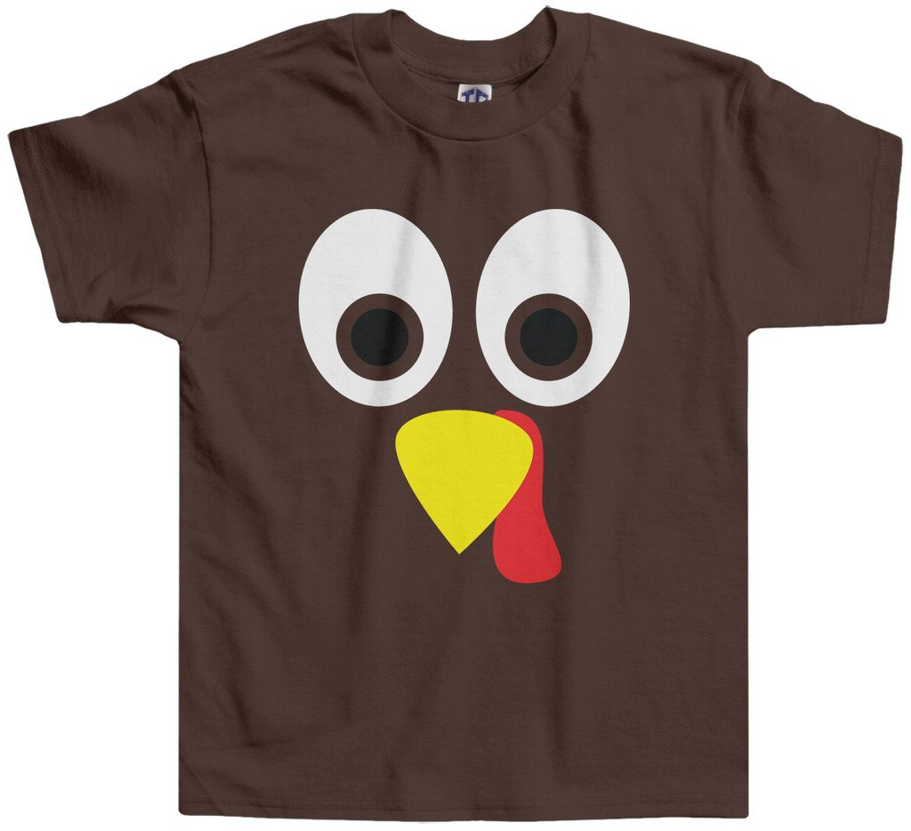 0f10208bf Threadrock Little Boys' Thanksgiving Turkey Face Toddler T-shirt 3T Brown