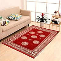 Elite Home HOME ELITE Maroon Coloured Ethnic Design Velvet Touch Carpet (140X200 Cm)