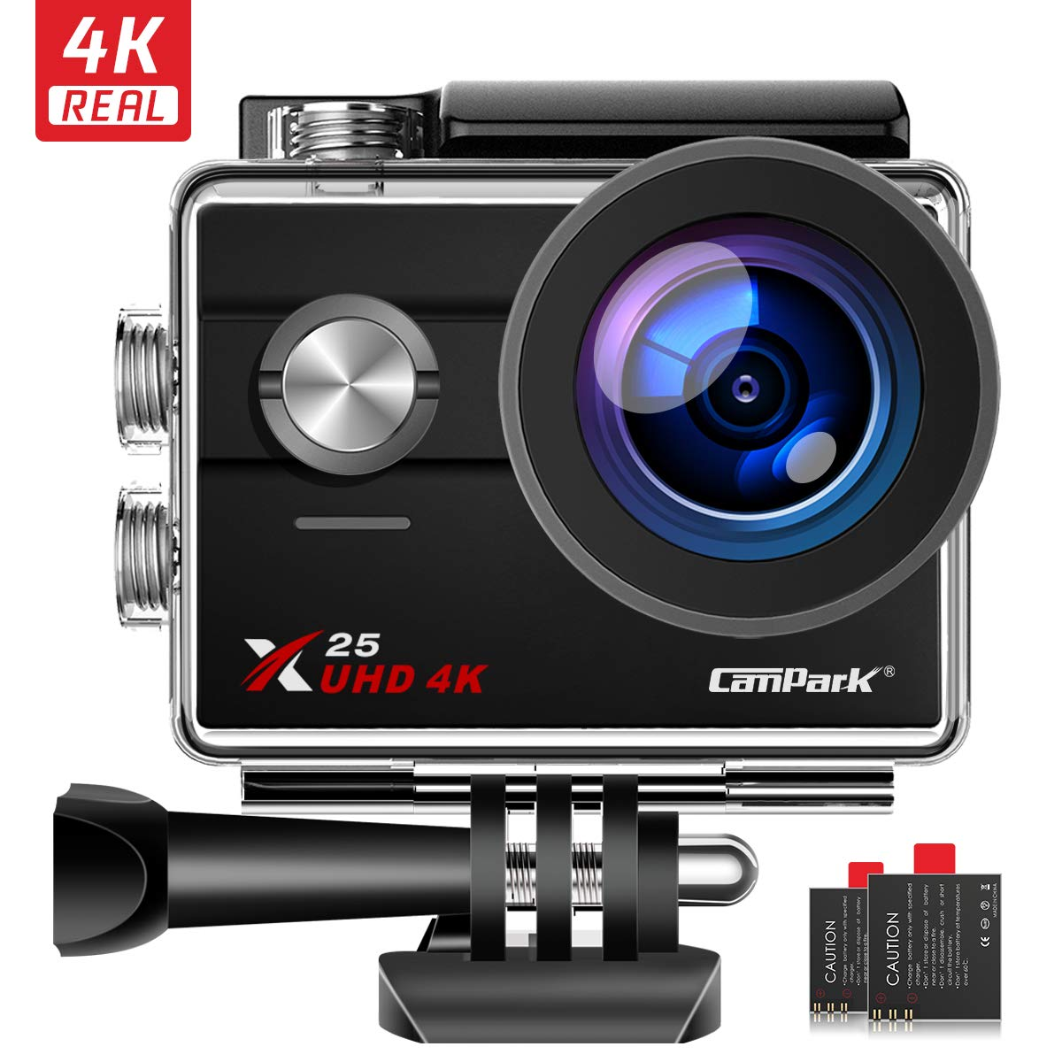 Campark X25 Native 4K Action Camera Ultra HD WiFi Underwater Waterproof Camera 170° Wide Angle with 2 Rechargeable Batteries and Mounting Accessories Kit by Campark