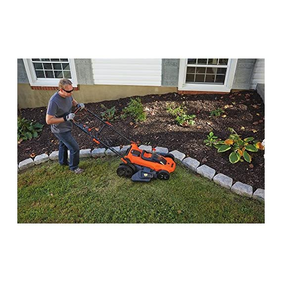 BLACK+DECKER 40V MAX Cordless Lawn Mower, 20-Inch (CM2043C) 3 Two 40V max Lithium ion batteries are included for twice the runtime Mulching, bagging and side discharge of grass clippings gives you 3-in-1 versatility Mow right up to edges and spend less time trimming thanks to the edgemax design