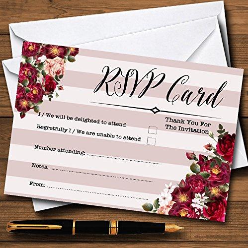 Red Rose & Stripes Vintage Personalized RSVP Cards (Stripes Rsvp Card)