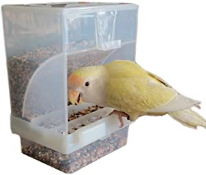 Hypeety Automatic Bird Feeder No Mess Pet Feeder Seed Food Container Perch Cage Accessories for Budgerigar Canary Cockatiel Finch Parakeet