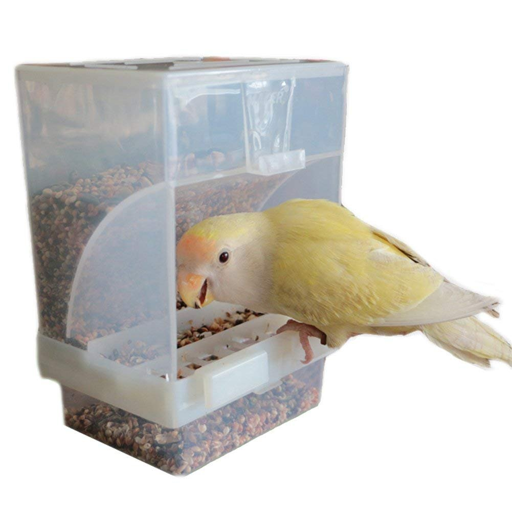Hypeety mangiatoia per uccelli, no Mess Automatic Pet feeder Seed contenitore persico gabbia accessori per Budgerigar Canarie Cockatiel Finch parrocchetto