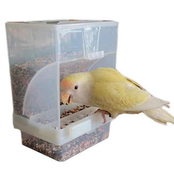 Hypeety - Comedero automático para pájaros, sin ensuciar, alimentador para Mascotas, contenedor de Alimentos, Jaula de Perca, Accesorios para Periquito, ...