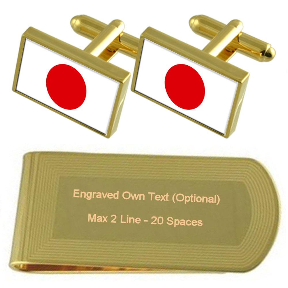 Japan Flag Gold-tone Cufflinks Money Clip Engraved Gift Set
