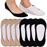 4 to 8 Pairs Ultra Low Cut No Show Socks Women Invisible for Flats and Dress Shoes Liner Socks with Non-Slip Heel Grips