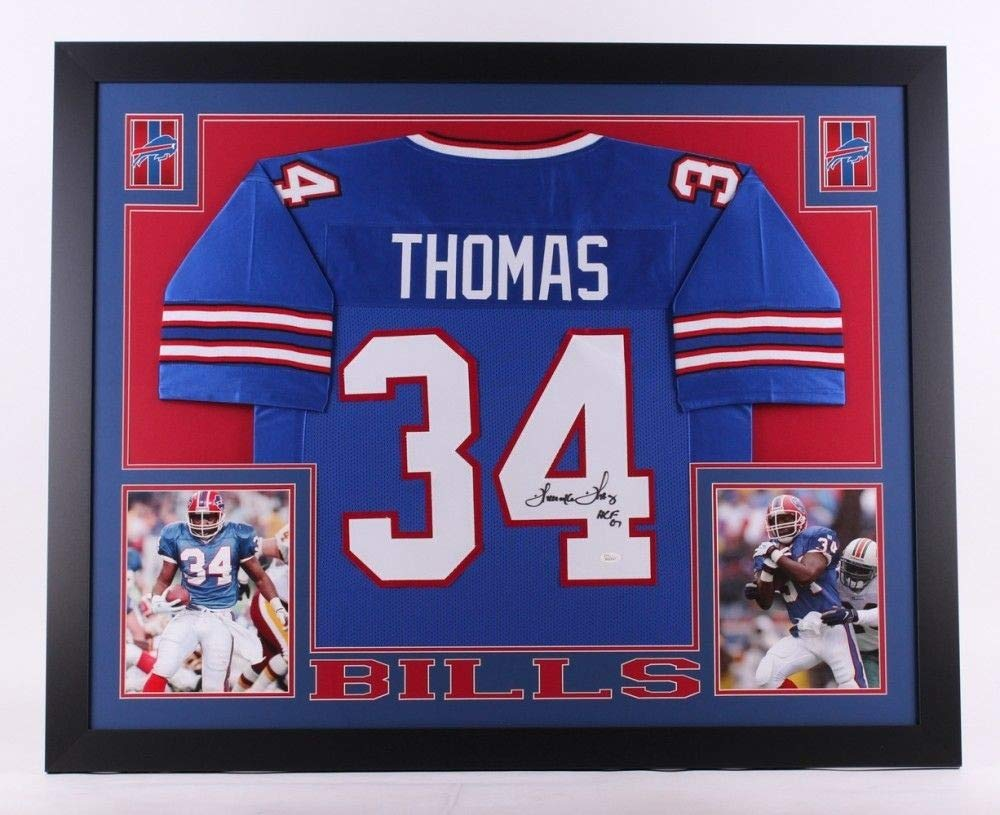 a975ba1490f Thurman Thomas Autographed Signed Bills 35X43 Custom Framed Jersey  Inscribed Hof 07 Memorabilia JSA 0917 at Amazon s Sports Collectibles Store