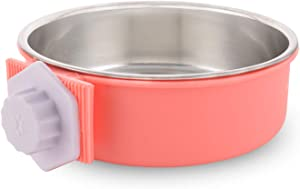 Guardians Crate Dog Bowl Removable Stainless Steel Water Food Feeder Bowls Cage Coop Cup for Cat Puppy Bird Pets