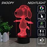 CHINAXYZZZ Snoopy Lamp 3D Optical Illusion LED Nightlight Touch Switch Table Desk Snoopy Lamp 7 Changing Colors Acrylic Flat with USB Charger or Battery for Room Decoration or Festival Gifts