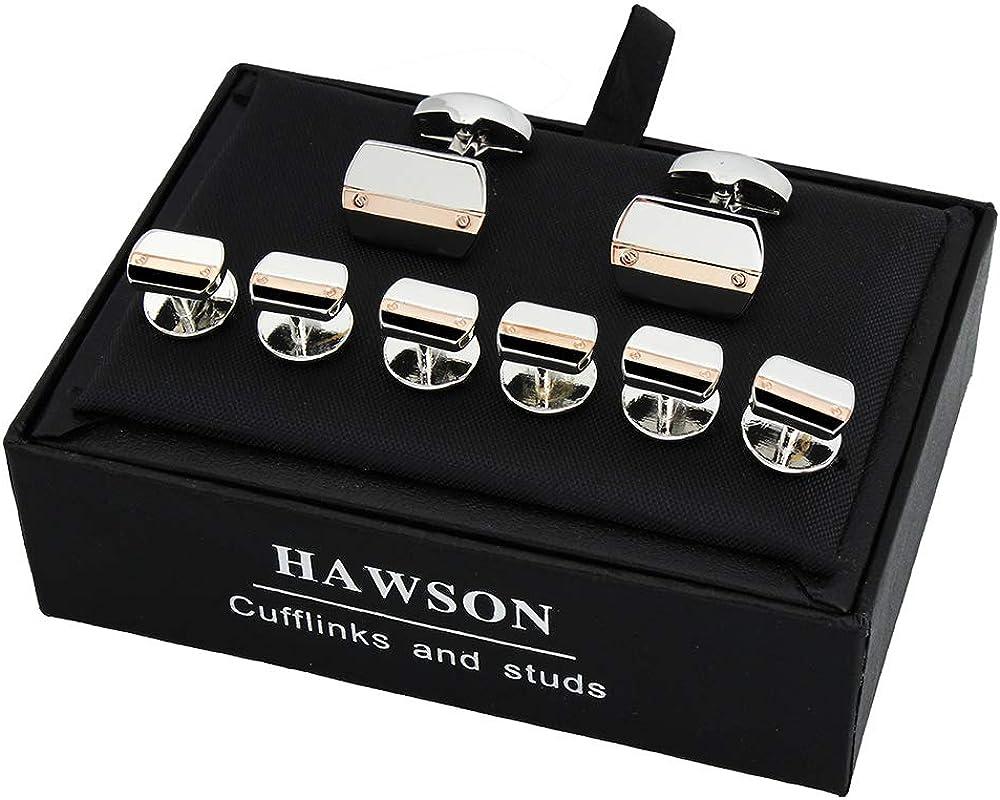 HAWSON Cufflinks and Studs for Men-Mens Fashion Striped Cufflinks and Tuxedo Shirt Studs Set for Regular Weeding Business Accessories