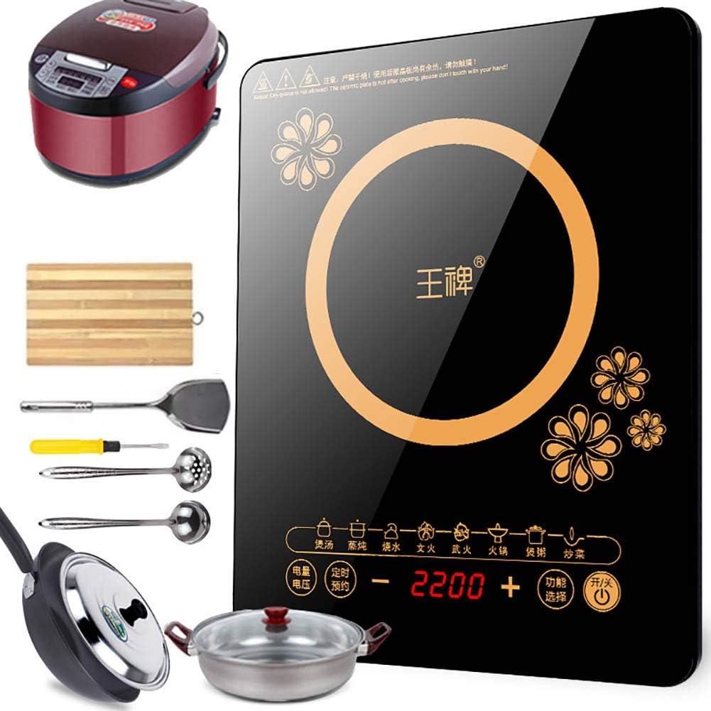 F-JX Placa Inducción Kits, Doble Cocina De Inducción con Ultra-Delgado Cuerpo, 8 Niveles De Temperatura, Niveles De Potencia Múltiples, 2200W, Contador De Tiempo De 3 Horas,A