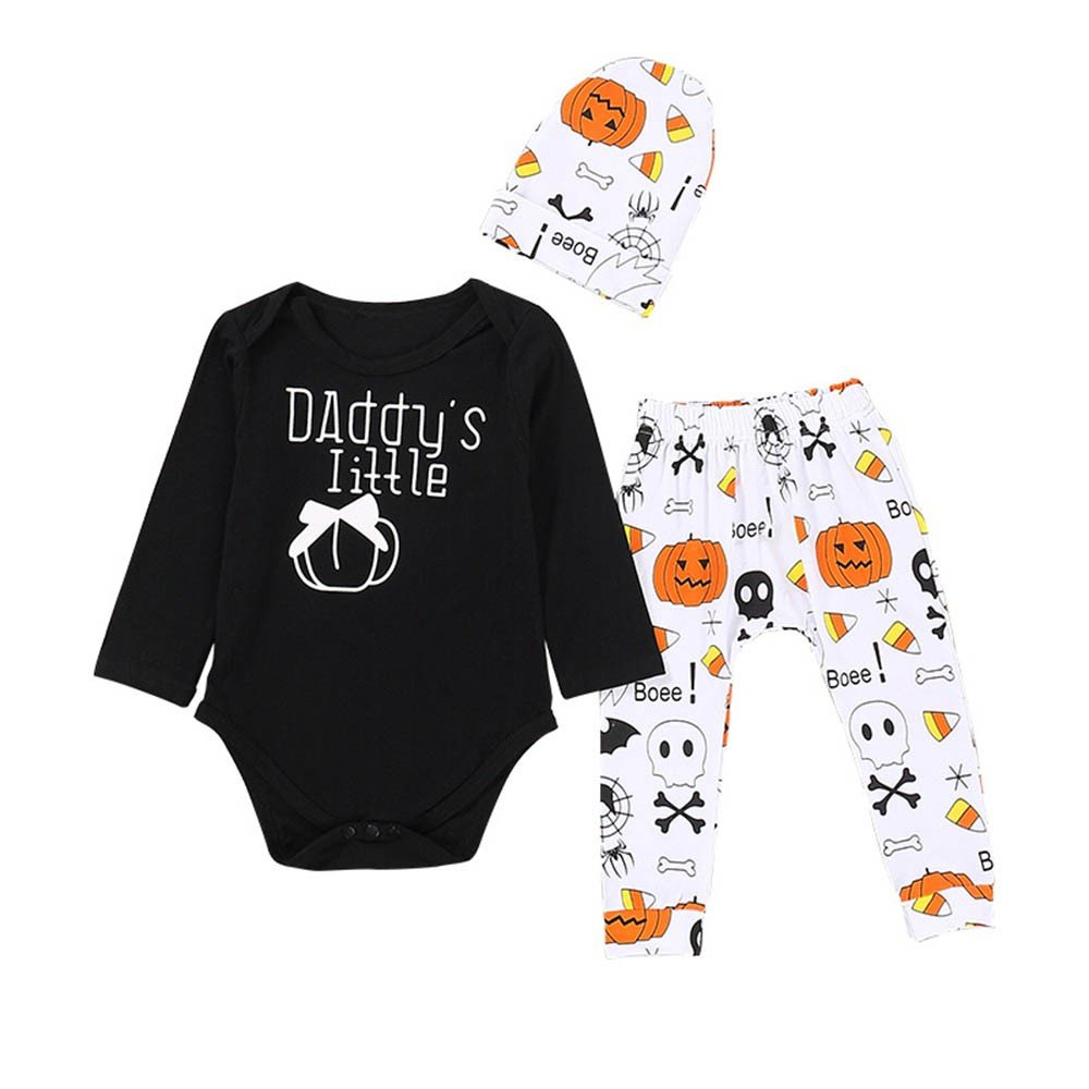 Romper Cartoon Pants+Hat 3Pcs Outfit Set Girl boy Halloween Outfits,Finess Infant Baby Long Sleeve Daddys Little