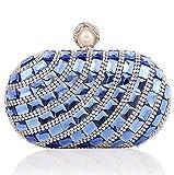 Ladies luxury Large Rhinestone Glass diamonds Evening Bag Handbag Clutches (Blue)