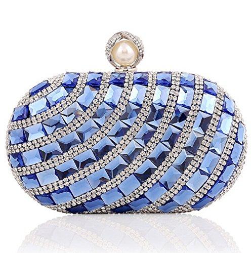 Ladies luxury Large Rhinestone Glass diamonds Evening Bag Handbag Clutches (Blue) by E-TDPAC