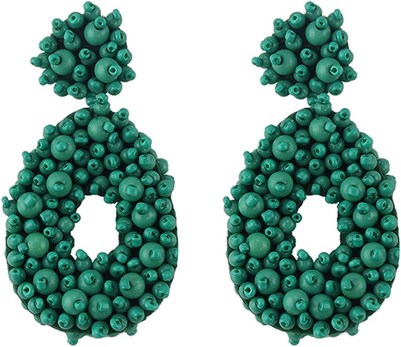 Pendientes colgantes de metal verde de moda para mujer, regalo geométrico de resina de cristal