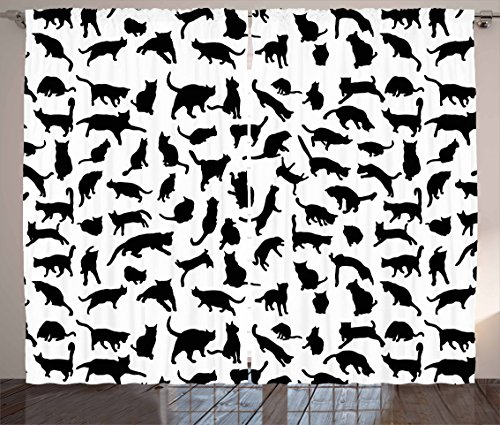 """Ambesonne Cat Lover Curtains, Black Silhouettes of Cats in Different Poses Scratching Stretching and Playing, Living Room Bedroom Window Drapes 2 Panel Set, 108"""" X 84"""", White Black"""