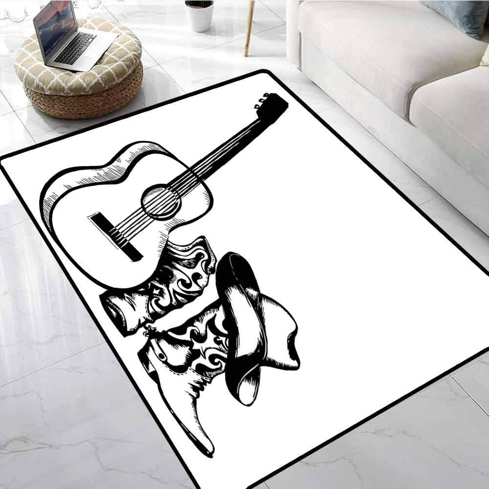 Western Custom fit Floor mats Country Music Theme with Cowboy Shoes Hat and Guitar Instrument Sketch Art Large Floor Mats for Living Room 48 x 72 Inch by LilyDecorH