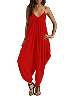 ff444858736c Shineya Women s Solid Color Sleeveless Deep V Neck Loose Sling Jumpsuit  S-5XL