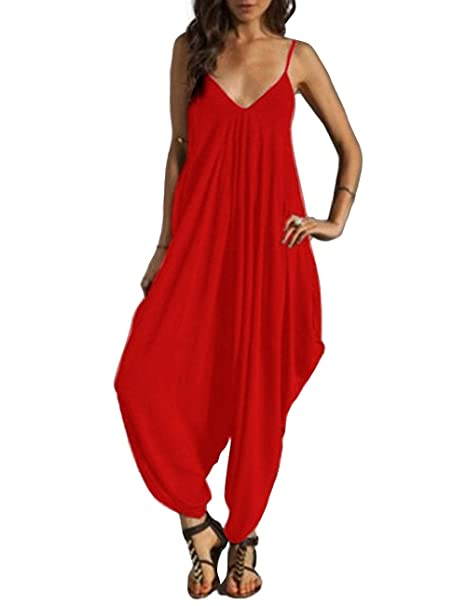 6d5db6efb98 Shineya Women s Solid Color Sleeveless Deep V Neck Loose Sling Jumpsuit Red  3XL